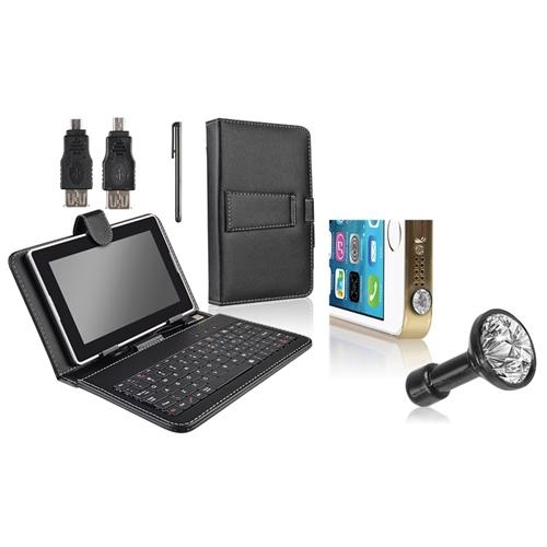 INSTEN Black Leather Keyboard Case+Clear Dust Cap For Asus Google Nexus 7 (Designed for Nexus 7 2012 edition ONLY)