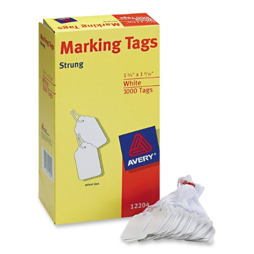 "Avery Marking Tag - 1.75"" X 1.09"" - 1000/box - Cotton, Polyester - White (AVE12204)"