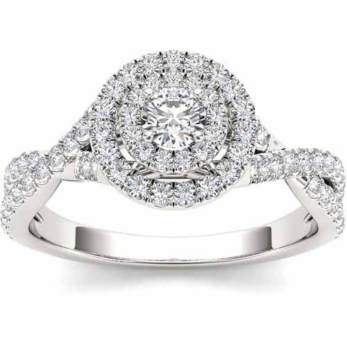 Imperial 3/4 Carat T.W. Diamond 10kt White Gold Double Halo Twisted Shank Engagement Ring