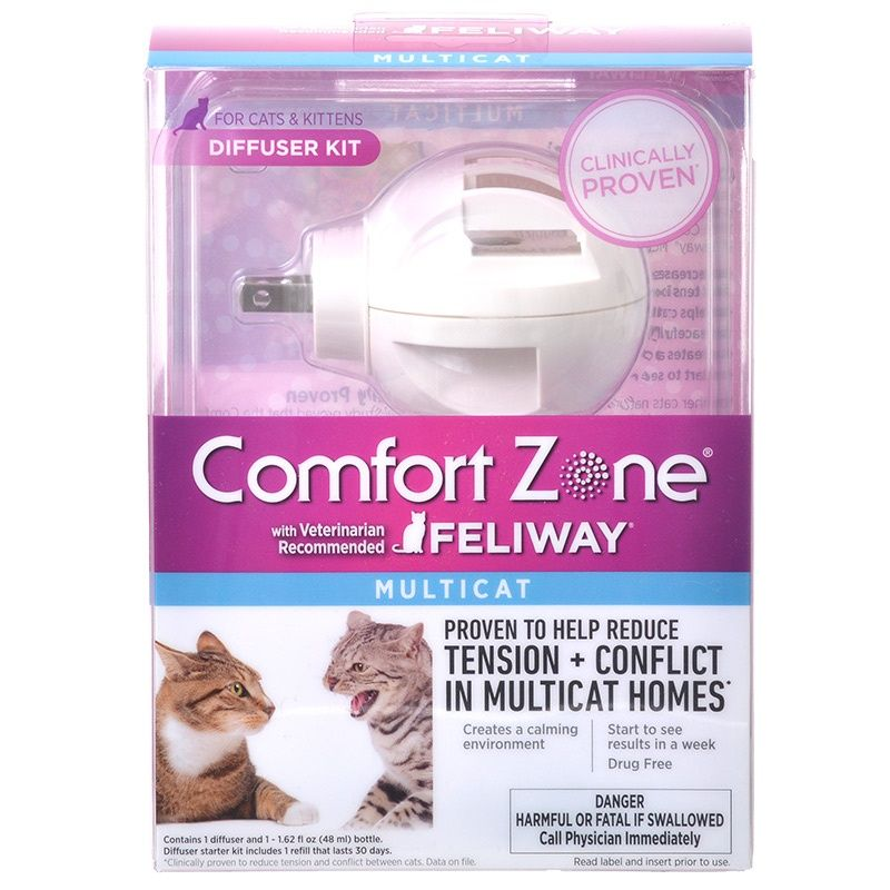 Comfort Zone with Feliway Multicat Diffuser Plug-In Diffuser and 30-Day Refill (48 Milliliter)