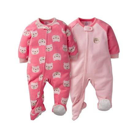 Gerber Microfleece Blanket Sleeper, 2pk (Baby Girls) - Nautical Baby Girl Clothes