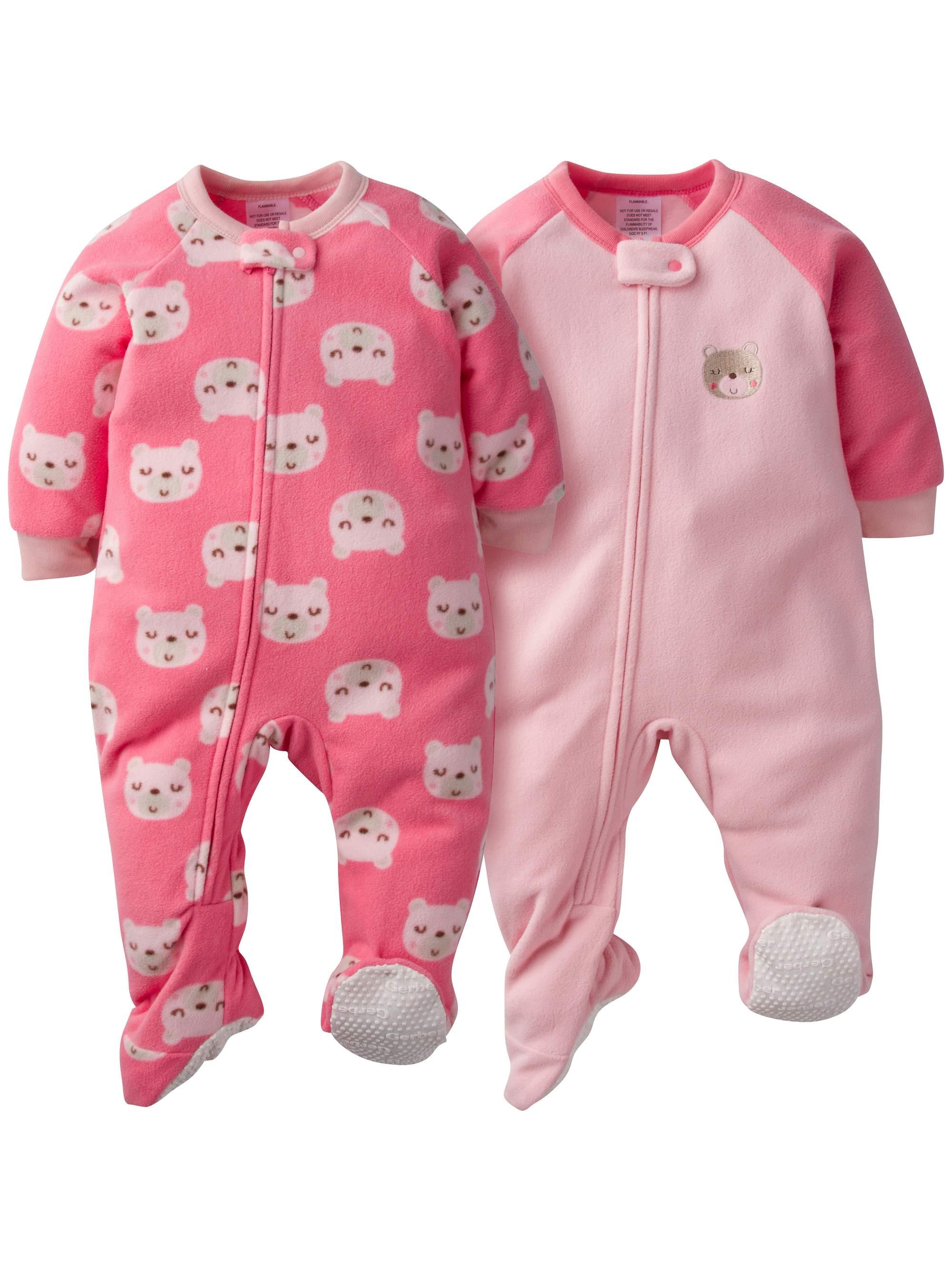 Gerber Microfleece Blanket Sleeper, 2pk (Baby Girls)