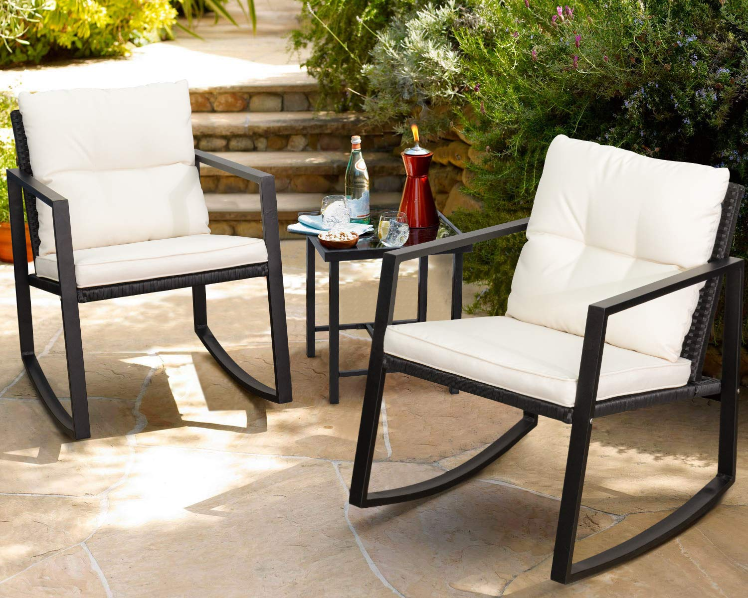 Set Rocking Wicker Bistro Sets