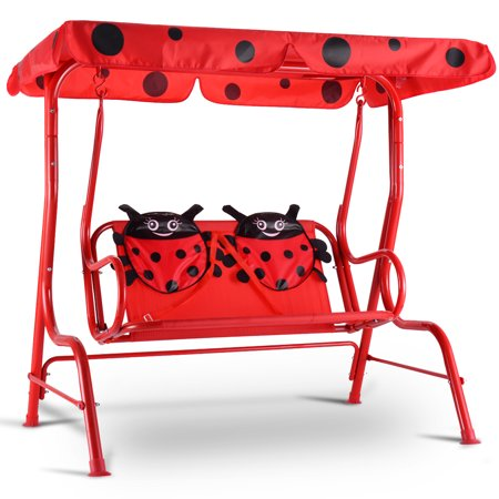 Costway Kids Patio Swing Chair Children Porch Bench Canopy 2 Person Yard Furniture red