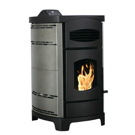 Ashley 2,200 Sq. Ft EPA certified Pellet stove with Brushed Stainless Steel Curved sides (King Ashley Pellet Stove Parts)