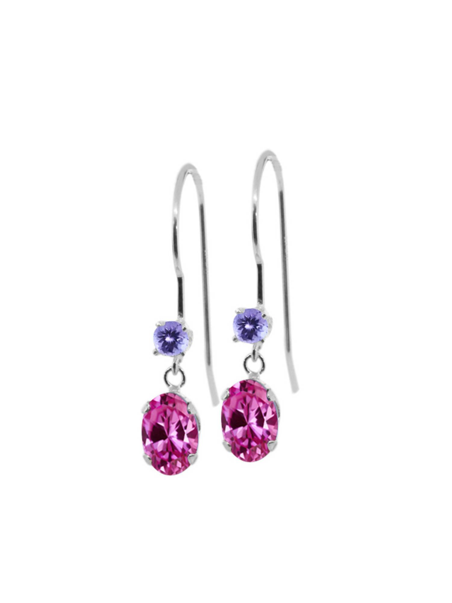 1.36 Ct Oval Pink Created Sapphire Blue Tanzanite 14K White Gold Earrings by