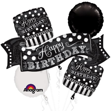 Black and White Chalkboard Birthday Foil/Mylar Balloon Bouquet - 1st Birthday Board