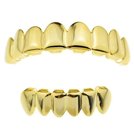 14k Gold Plated Grillz Set Eight Top 8 Upper Teeth And Six Bottom 6 Lower Plain Teeth Hip Hop Grills