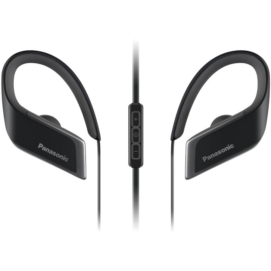 """Panasonic WINGS"""" Wireless Bluetoothᅡᆴ Sport Clips with Mic + Controller RP-BTS30-K (Jet Black) with Travel Pouch, Water Resistant"""