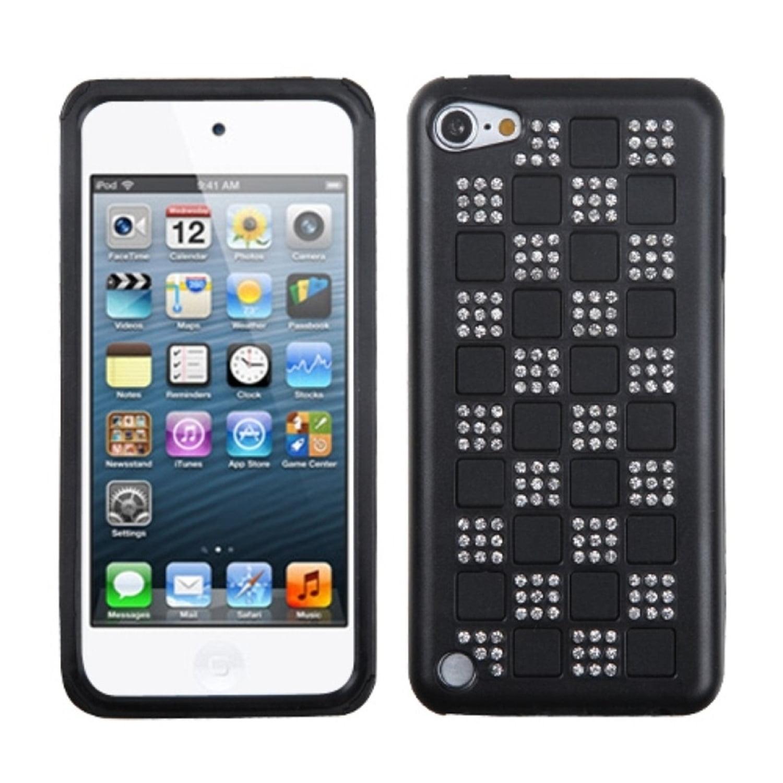 INSTEN Silver Checker/Black/Black Diamante Duple Case For iPod Touch 6 6th 5 5th Gen