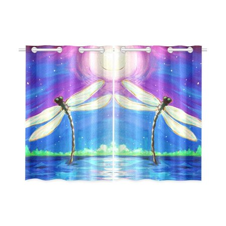 CADecor Dragon Fly Window Curtain Window Treatments Kitchen Curtains 26x39 inches, 2 Pieces