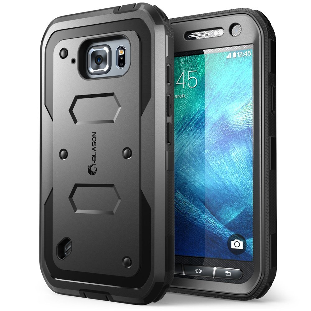 i-Blason Galaxy S6 Active Armorbox Dual Layer Full Body Protective Case - Smartphone - Black - Polycarbonate, Thermoplastic Polyurethane (TPU)