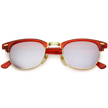 ae3fdab122c sunglass.la - True Vintage Horn Rimmed Semi Rimless Sunglasses Mirrored  Square Lens 49mm (Red   Red Mirror) - Walmart.com
