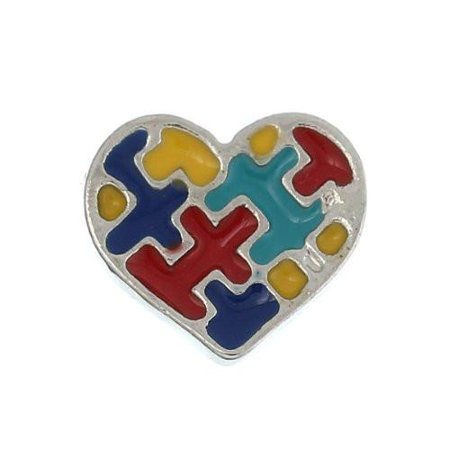 Puzzle Heart Floating Charms For Glass Living Memory -