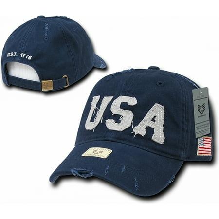 RapDom USA Southern Cal Distressed Fabric Mens Cap [Navy Blue - Adjustable] - Uta Caps