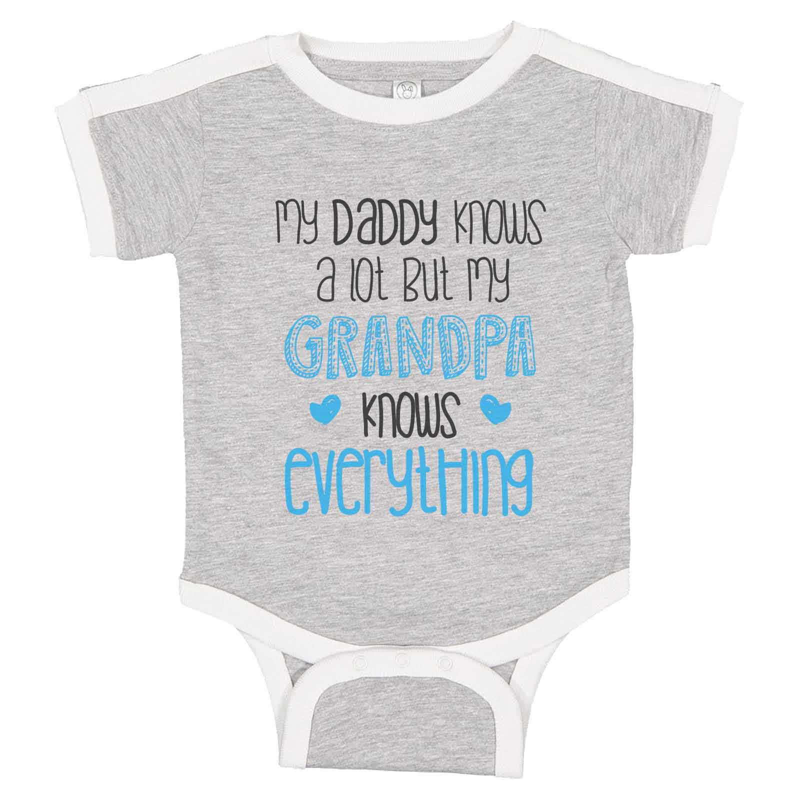 Babys Knows A Lot My Grandpa Knows Everything Short Sleeve Bodysuit Clothes Baby Rompers