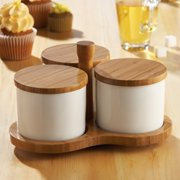 3 Section Porcelain Server Bowls with Wood Covers & Swivel Stand