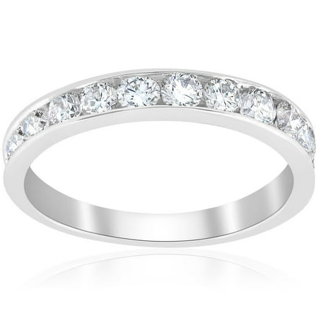 1ct Diamond Wedding Ring 14K White Gold Channel Set Womens Anniversary - Bar Channel Diamond Band