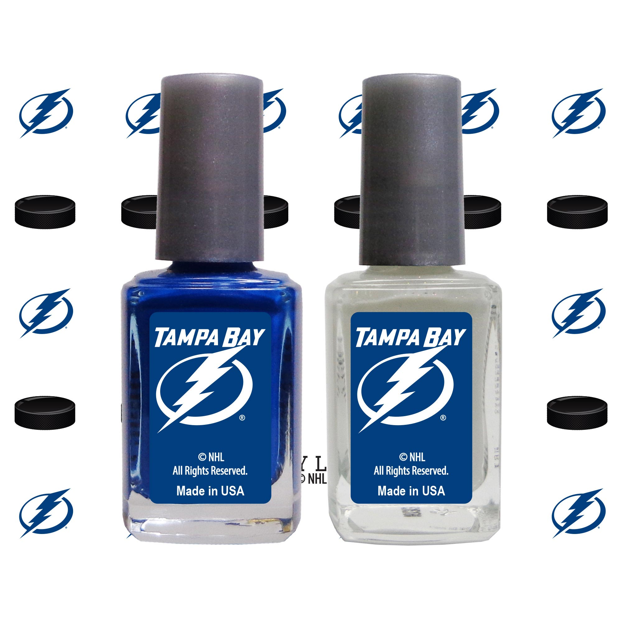 Tampa Bay Lightning 2-Pack Nail Polish with Nail Decal - No Size