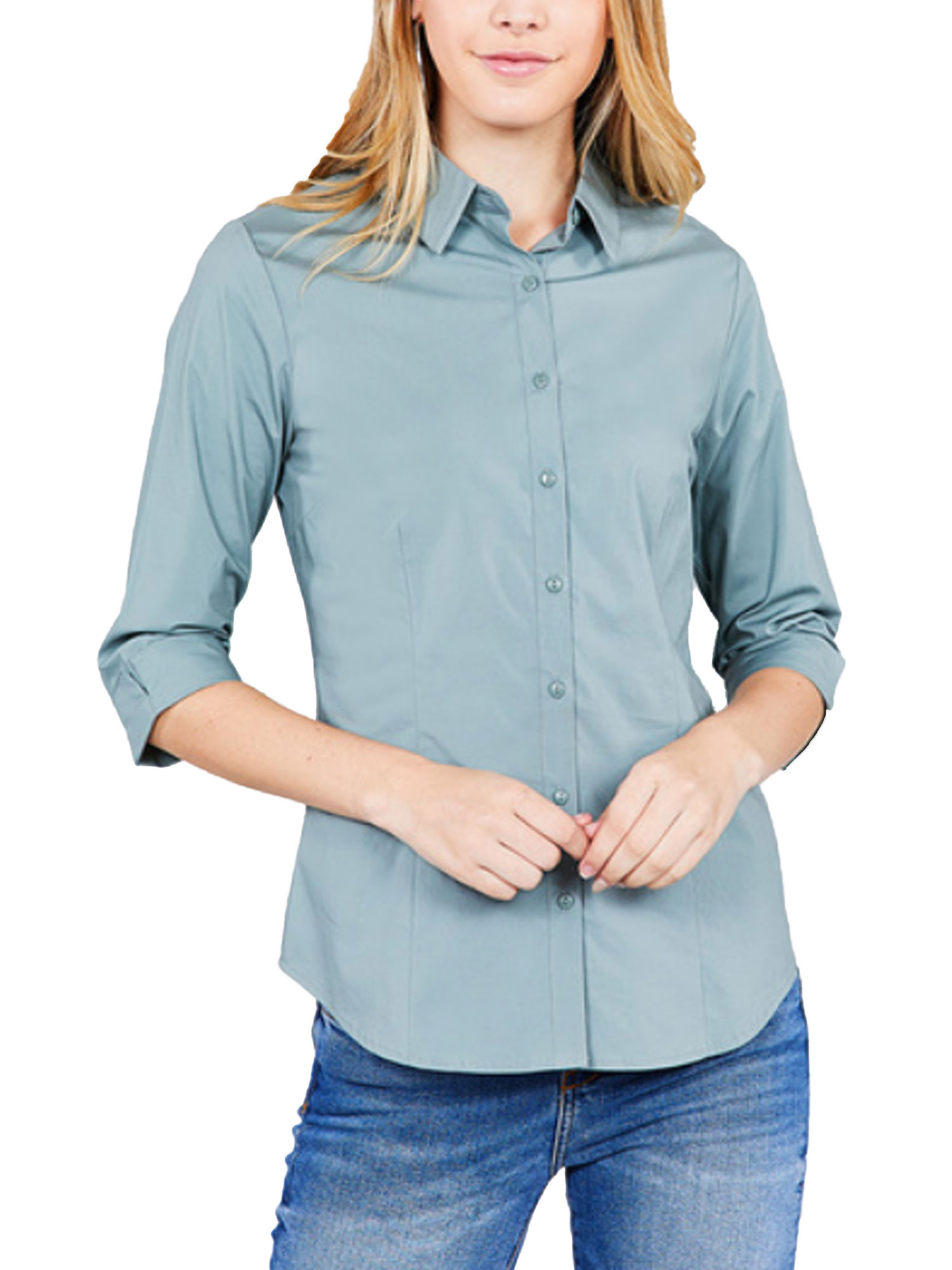 KOGMO Womens Classic Solid 3/4 Sleeve Button Down Blouse Dress Shirt