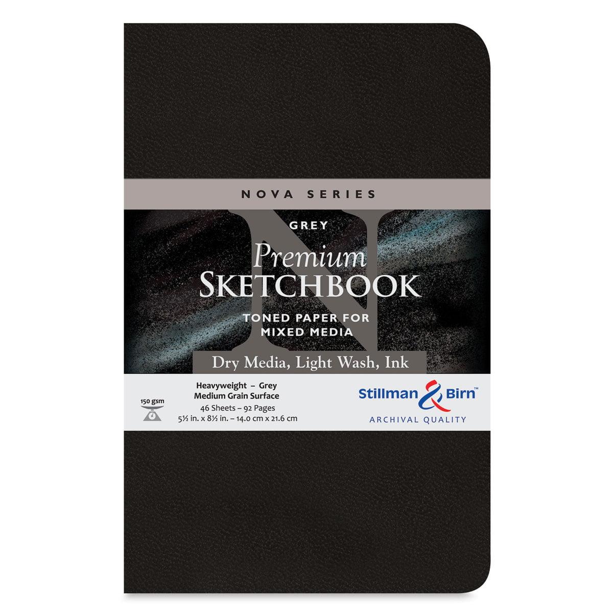 "Stillman & Birn Nova Mixed Media Sketchbook - Grey, 8-1/2"" x 5-1/2"", Softcover"