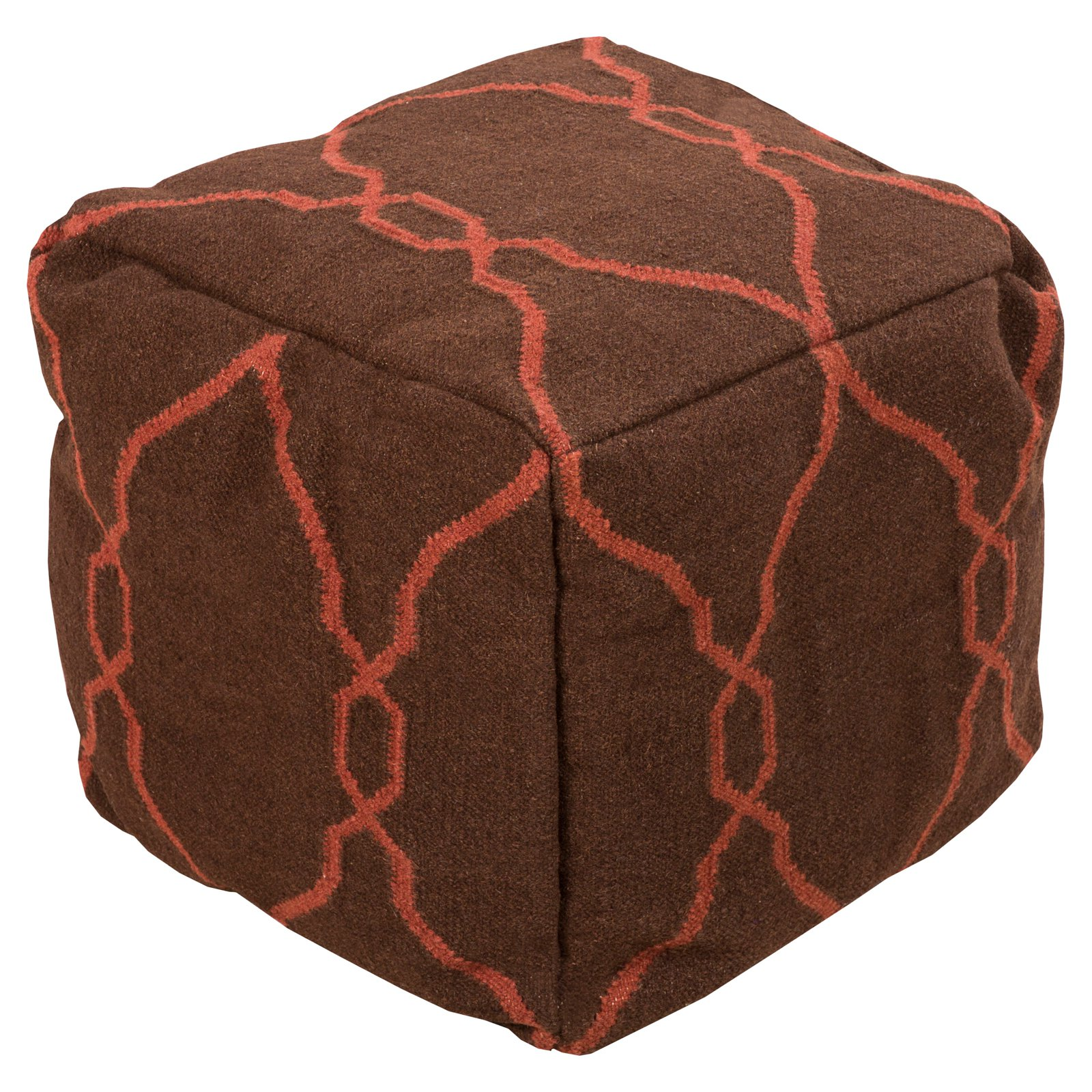 Surya 18 in. Rosenwald Cube Wool Pouf by Surya