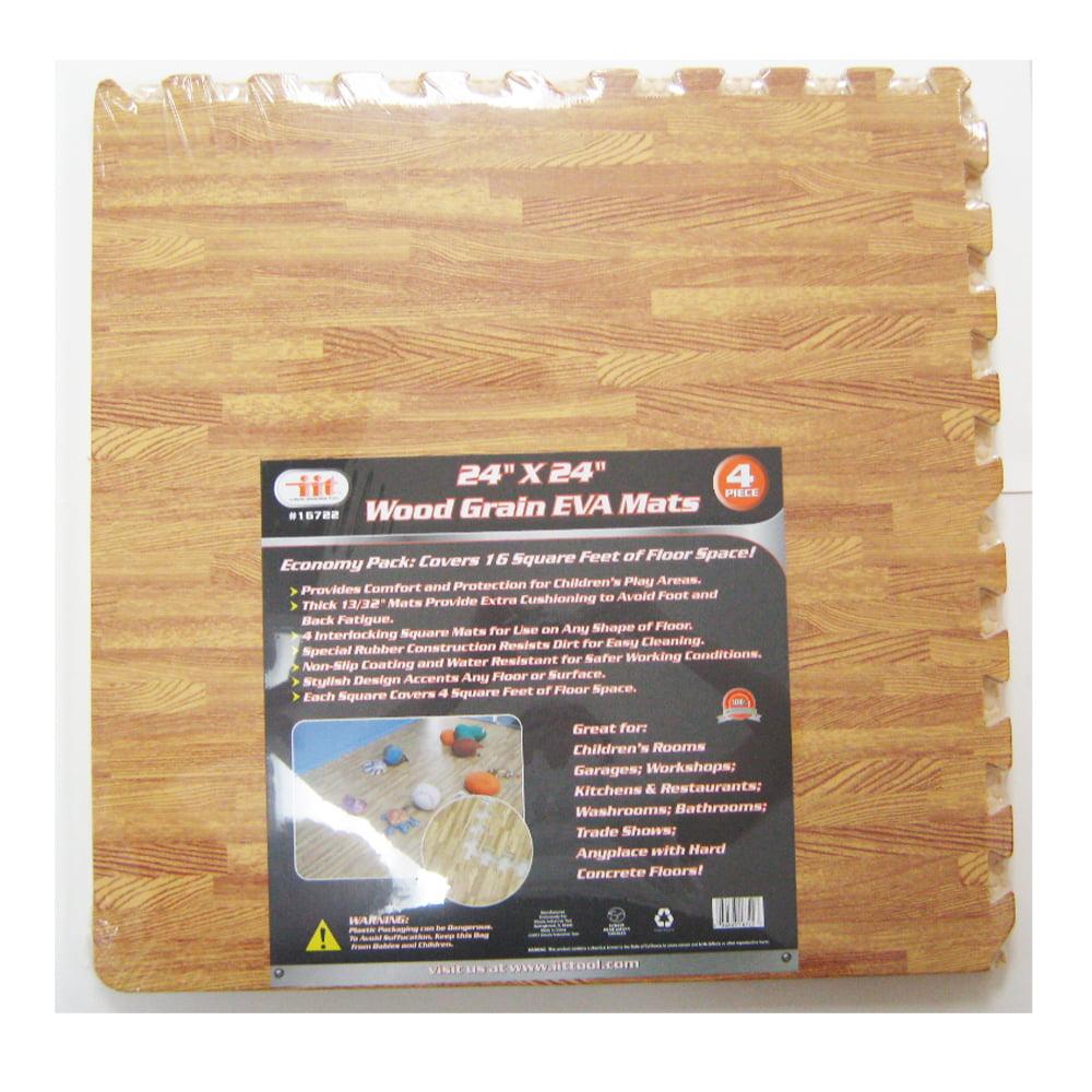 96 Sq Ft Eva Interlocking Mats Foam Floor Wood Grain Exercise Gym ...