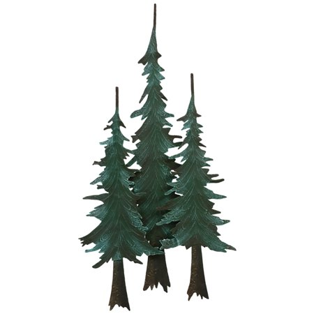 Metal Pine Tree Wall Cabin Sculpture Decor