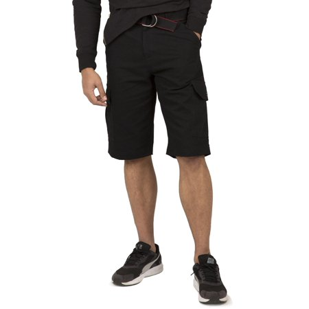 Vibes Men's Heavy Canvas Cargo Shorts with Stripe Belt 13