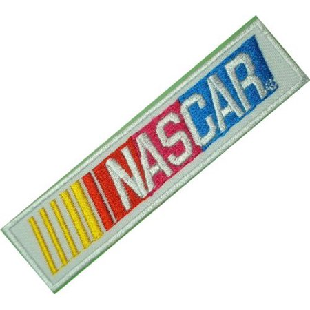 NASCAR Racing Race Cars White Logo Clothing Embroidered Patch 3.75x1 inches Logo Sew Ironed On Badge Embroidery Applique Patch.
