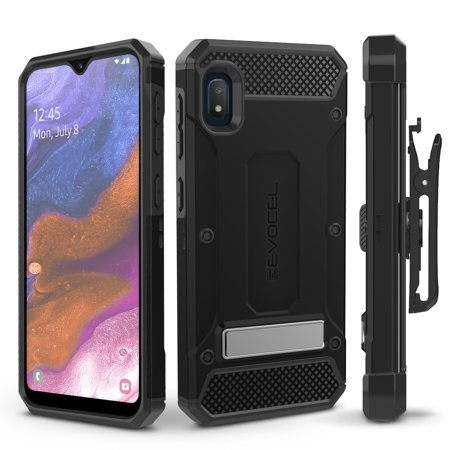 Galaxy A10E Case, Evocel [Glass Screen Protector] [Belt Clip Holster] [Metal Kickstand] [Full Body] Explorer Series Pro Phone Case for Samsung Galaxy A10E,