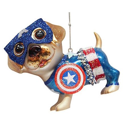 Captain America Christmas (December Diamonds Blown Glass Captain America Dog)