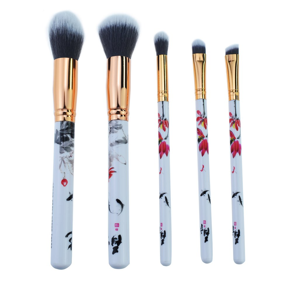 5pcs Chinese Style Printed Flower Makeup Brushes Cosmetics Tool Powder Foundation Eye Shadow Blush Brush Set Beauty Brush Kit