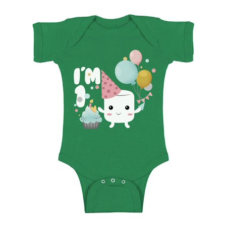 One Year Old Birthday Party Themes (Awkward Styles 1st Birthday Bodysuit Short Sleeve for Newborn Baby Cute Birthday Gifts One Year Old Party Outfit for Baby Girl Themed Party First Birthday Marshmallow Baby Girl One Piece)