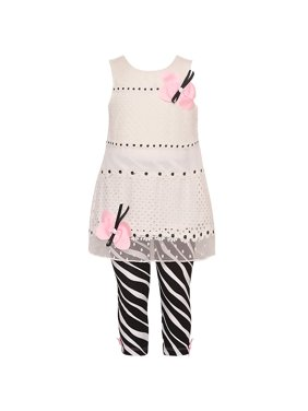 a78bddc5fdc93 Product Image Rare Editions Little Girls White Pink Butterfly Accent 2 Pc  Legging Set