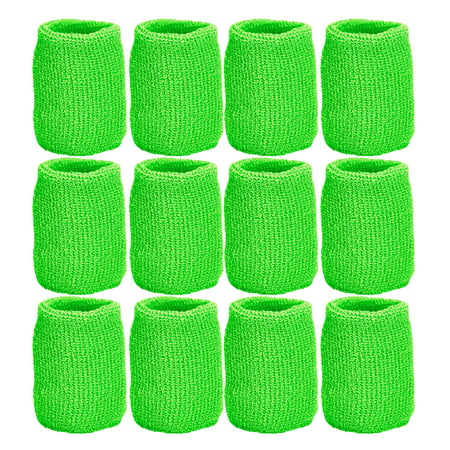 Unique Sports Athletic Performance Team Pack of 12 Wristbands (6 pair) - Lime Green](Dance Wristbands)
