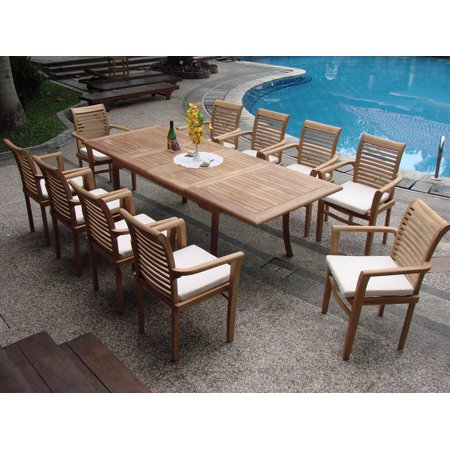 Teak Dining Set 10 Seater 11 Pc Large 117 Rectangle Table And 10 Mas