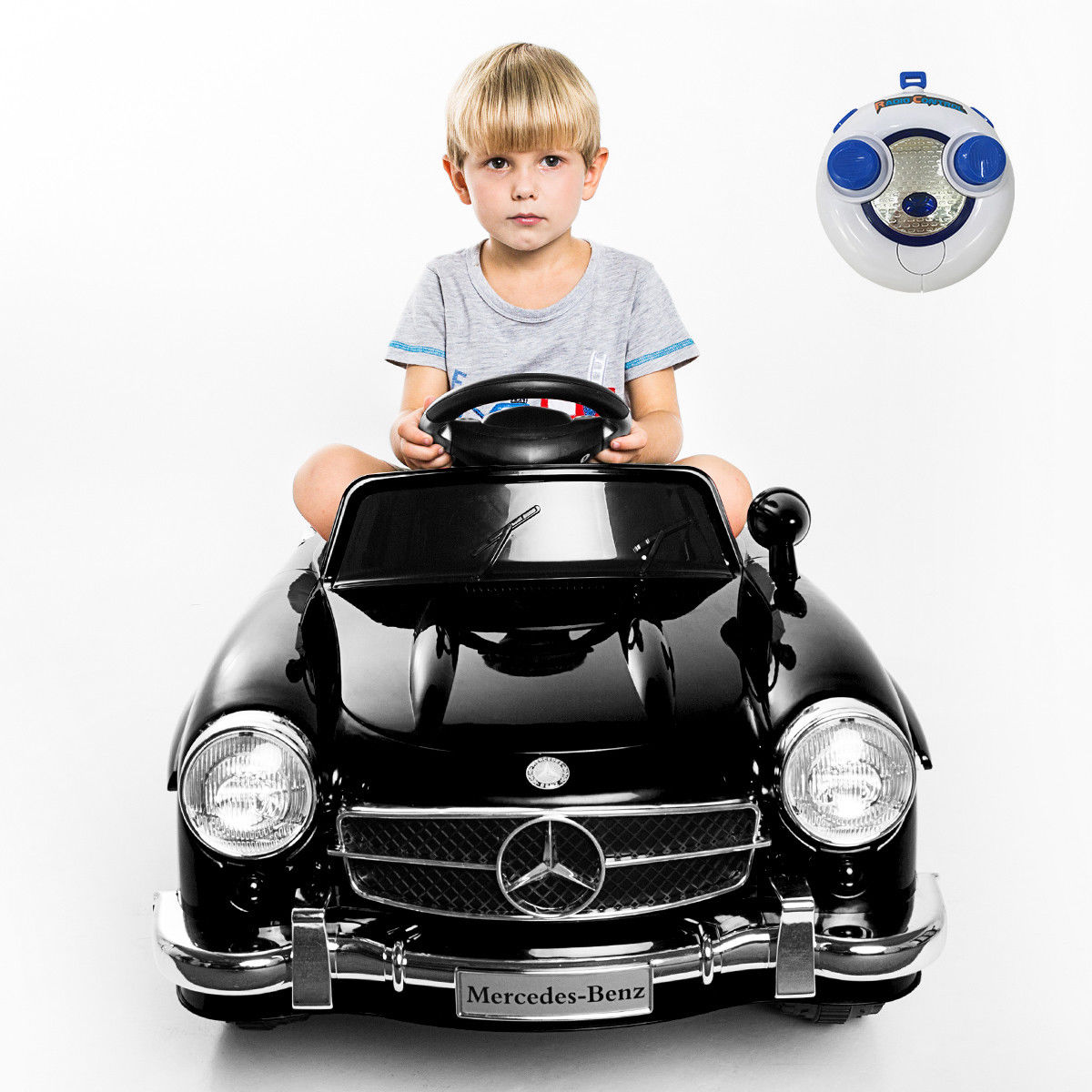 Costway Black MERCEDES BENZ 300SL AMG RC Electric Toy Kids Baby Ride on Car by Costway
