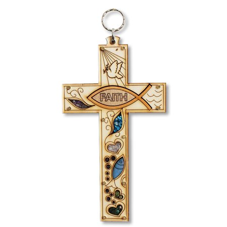Wooden Christian Faith Cross with Simulated Gemstones Wall Plaque Decor ()