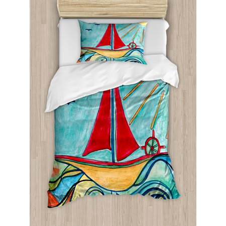 Art Twin Size Duvet Cover Set, Baby Boy Paintings Ship in the Waves of Ocean Sun Kids Girls Nursery Picture, Decorative 2 Piece Bedding Set with 1 Pillow Sham, Teal Red Earth Yellow, by Ambesonne