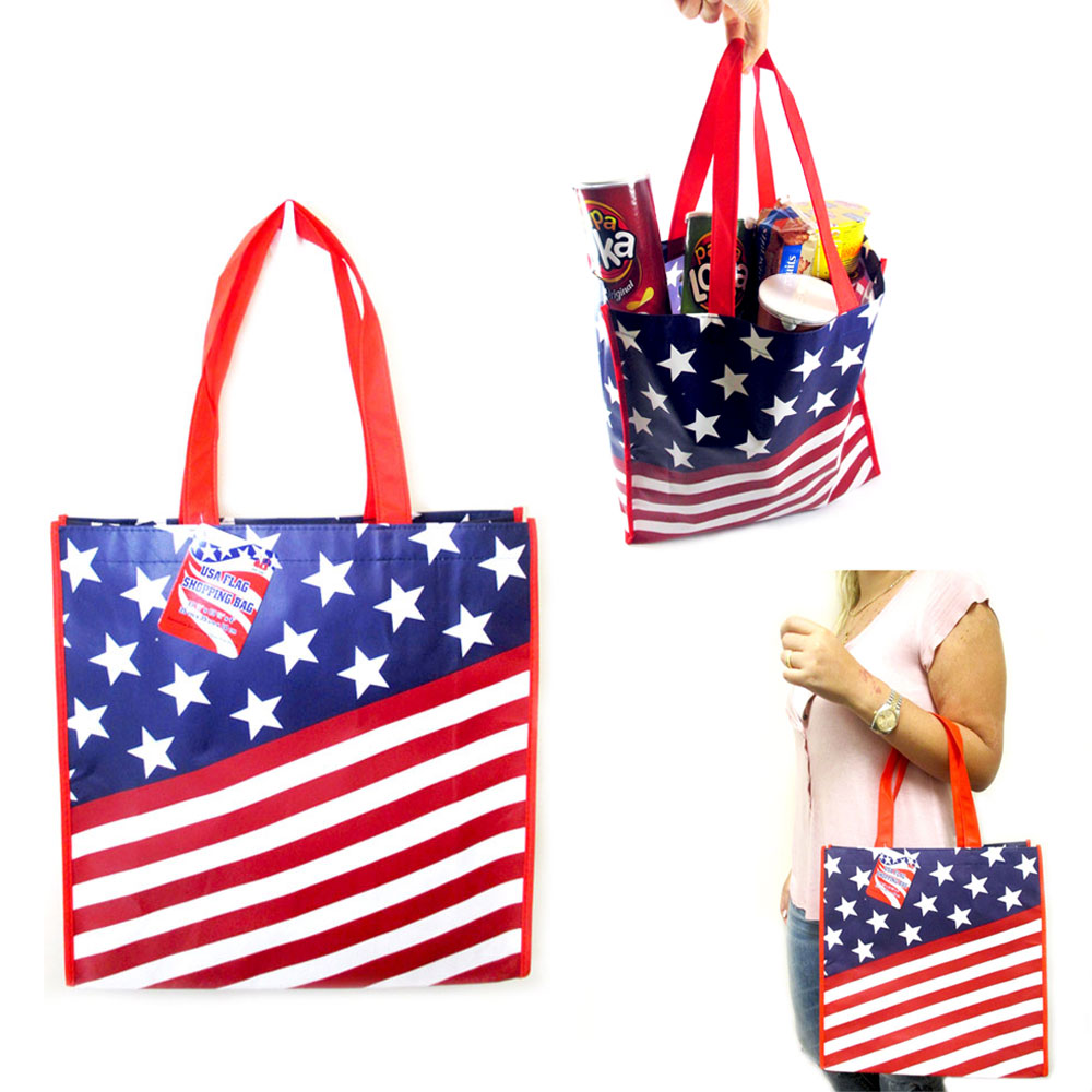 USA Flag Shopping Bag Large Tote Storage Reusable Shopping Groceries Laundry Bag