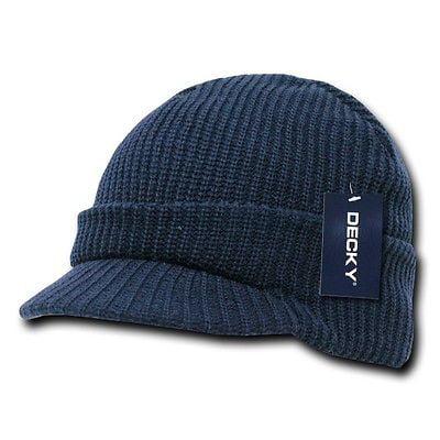 New Navy Blue Visor Beanie Jeep GI Military Ski Watch Cap Caps Hat Hats Beanies Gi Jeep Caps