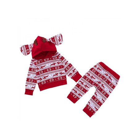 Ropalia Christmas Baby Boy Girl Sweatshirt Outfits Top Trousers 2Pcs/SET - Christmas Outfit Boys