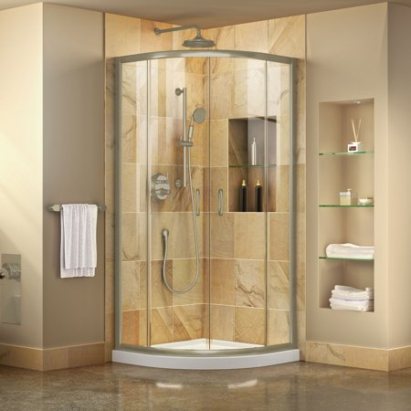 DreamLine Prime 38 in. x 74 3/4 in. Semi-Frameless Clear Glass Sliding Shower Enclosure in Brushed Nickel with White Base