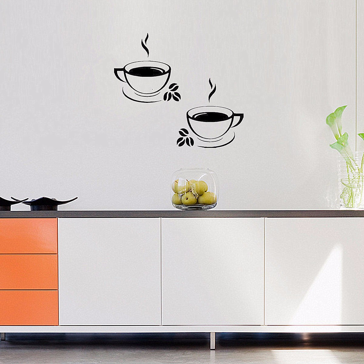 Waterproof Coffee Cups Kitchen Wall Stickers Art Vinyl Decal Restaurant Pub Cafe Home Decor