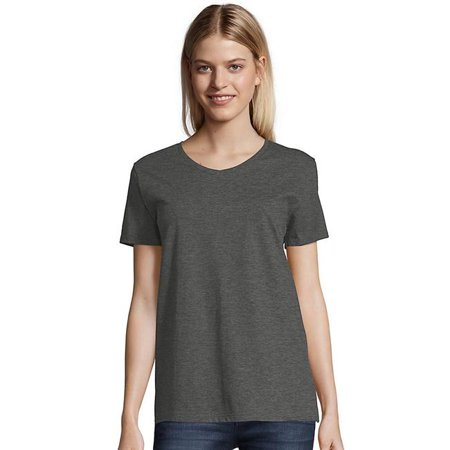Hanes 194164004940 Relaxed Fit Womens Comfort Soft V-neck T-Shirt, Charcoal Heather - Extra Large Extra Large Heather