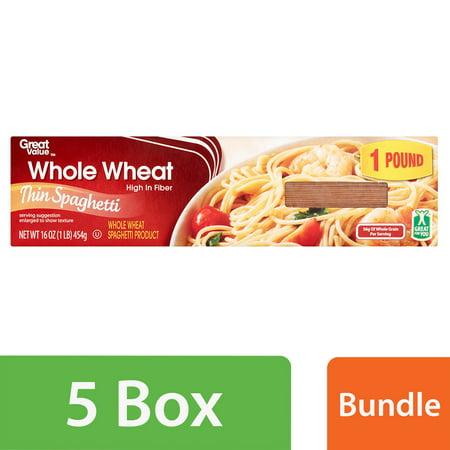 (5 Pack) Great Value Whole Wheat Thin Spaghetti, 16