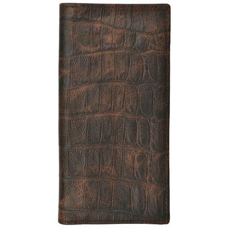 3D Western Wallet Mens Basic Rodeo Gator Checkbook Cognac W236 Rodeo Checkbook Wallet