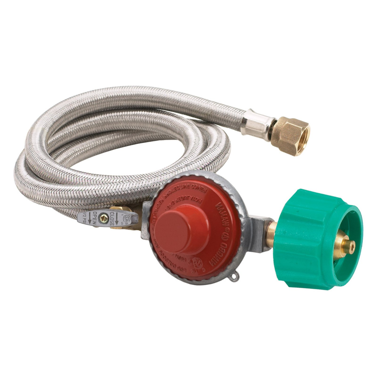Bayou Classics 48 in. Stainless Steel Braided Hose with Regulator - 20 psi