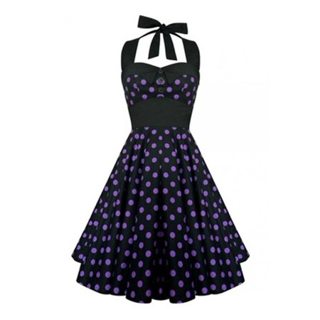Sleeveless Halter Backless Polka Dots Women Party Dress